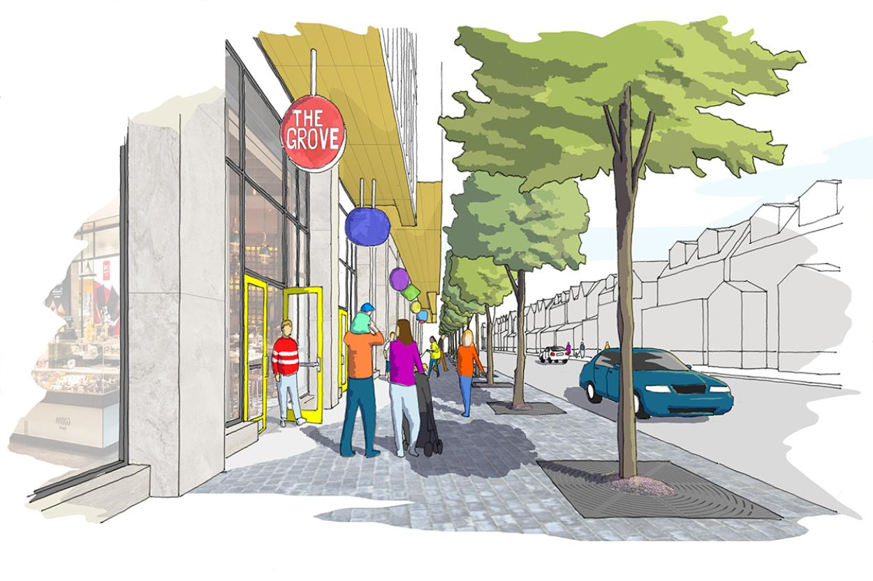 Sketch of street view with people walking down Dufferin Grove past retail and restaurants