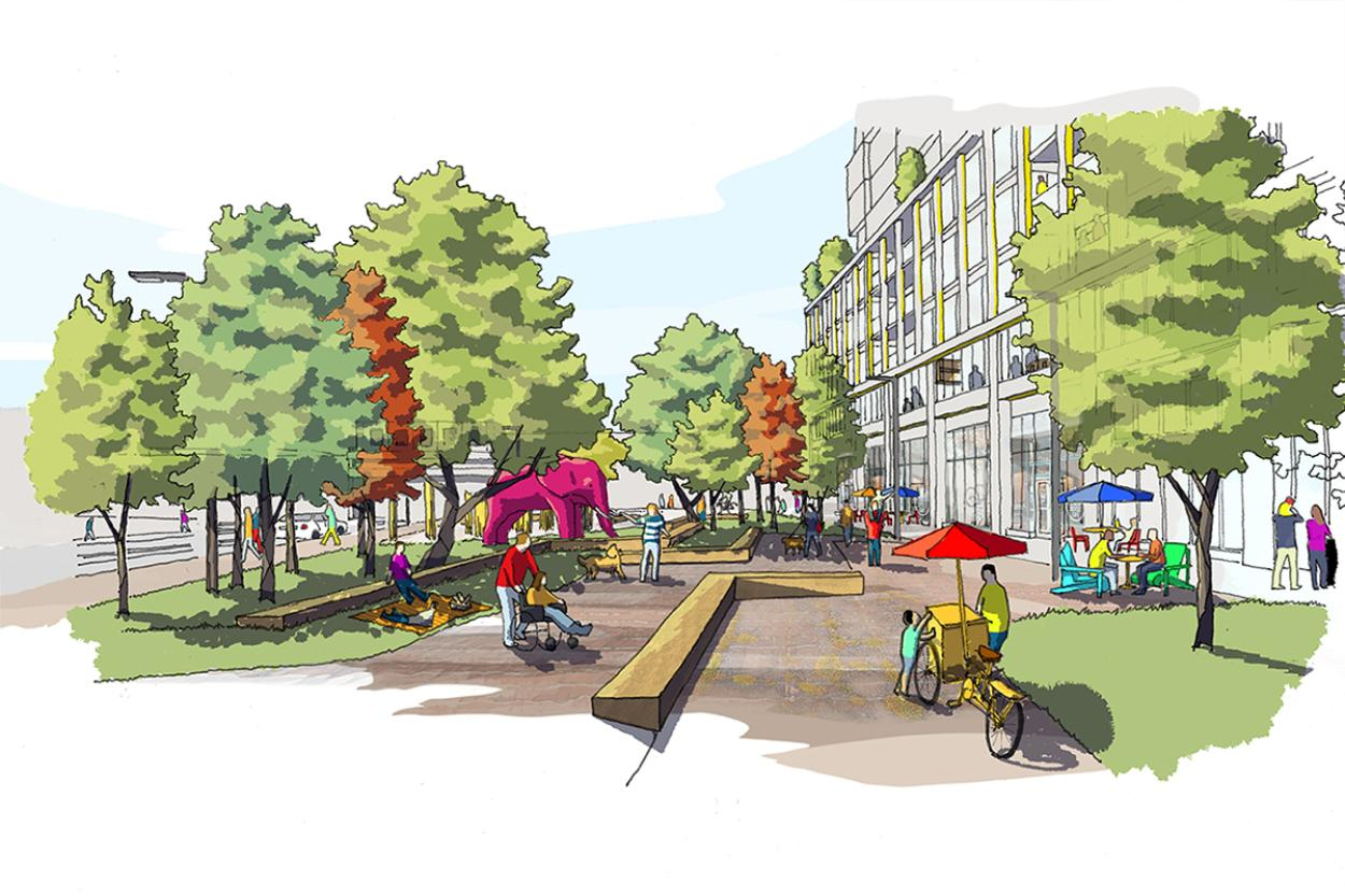 Colourful sketch of east side of Dufferin Grove park showing off the pathway and lanscaping