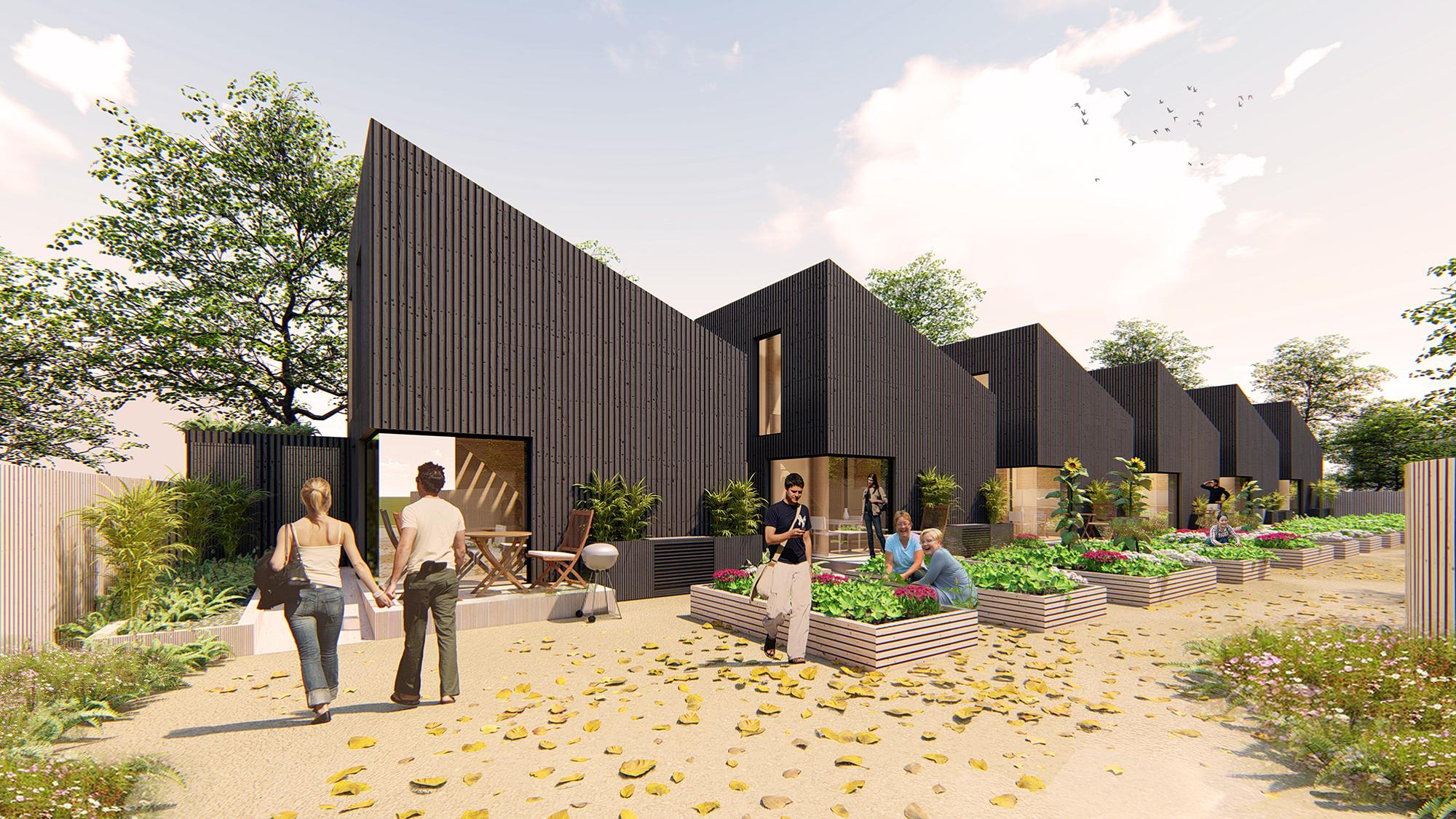 rendering of people in the yard of a row of houses with dark cladding, slanted roofs and gardens in each yard