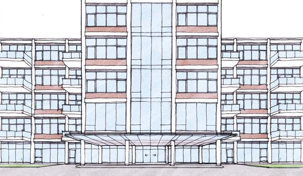 architectural sketch of the Bata Shoe Factory adaptive reuse project's facade