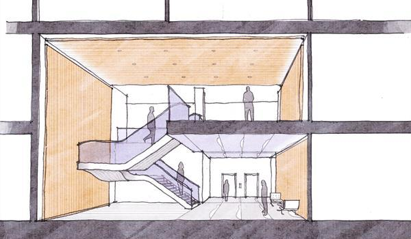 architectural sketch of a lobby with wooden ceiling and walls, curving feature stair and elevator bank
