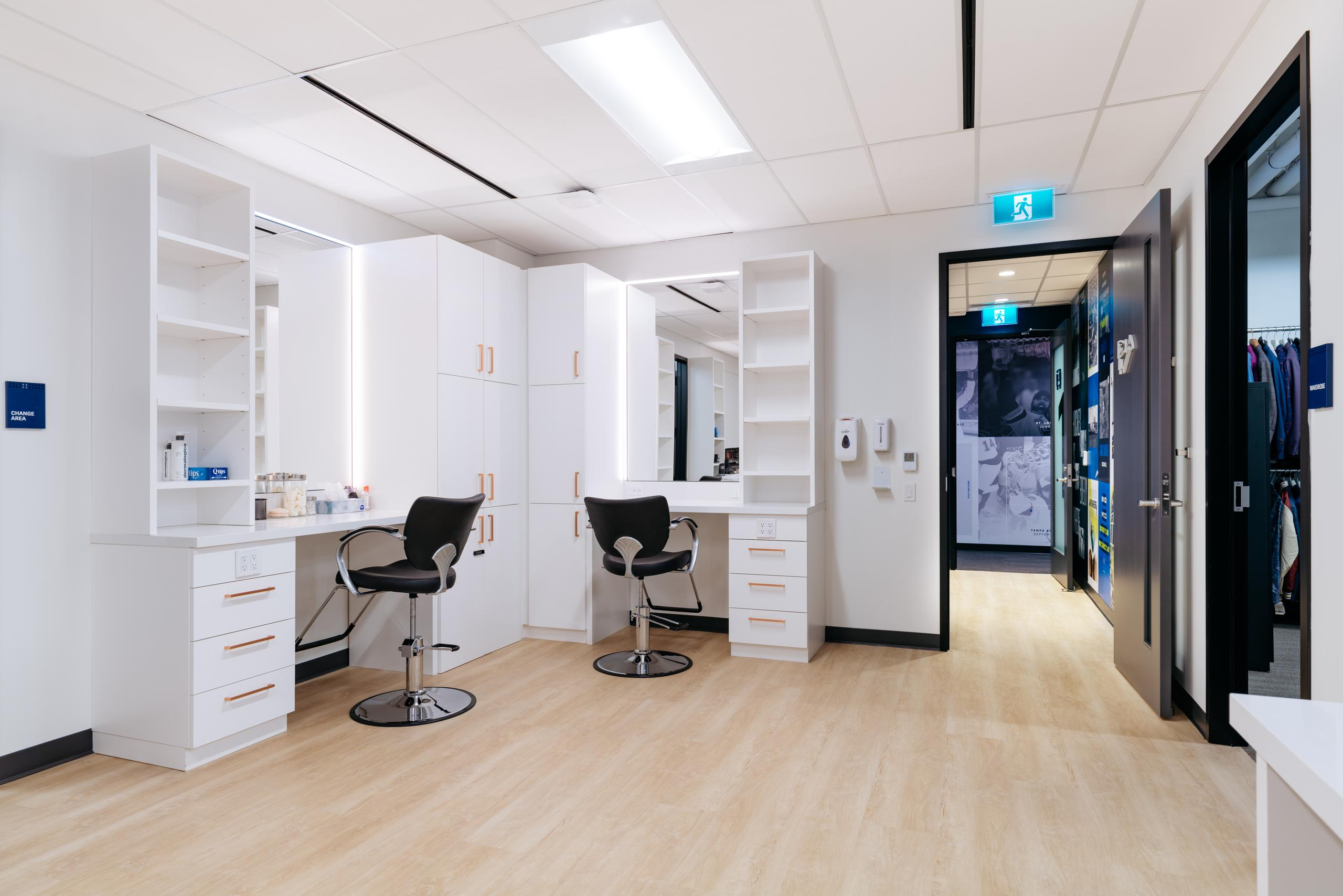 hair and makeup room in a tv production studio