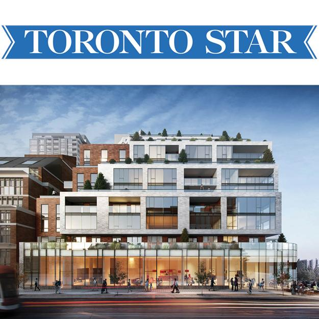 rendering of 1181 Queen Street West mid-rise condominium with white cladding, and the Toronto Star logo
