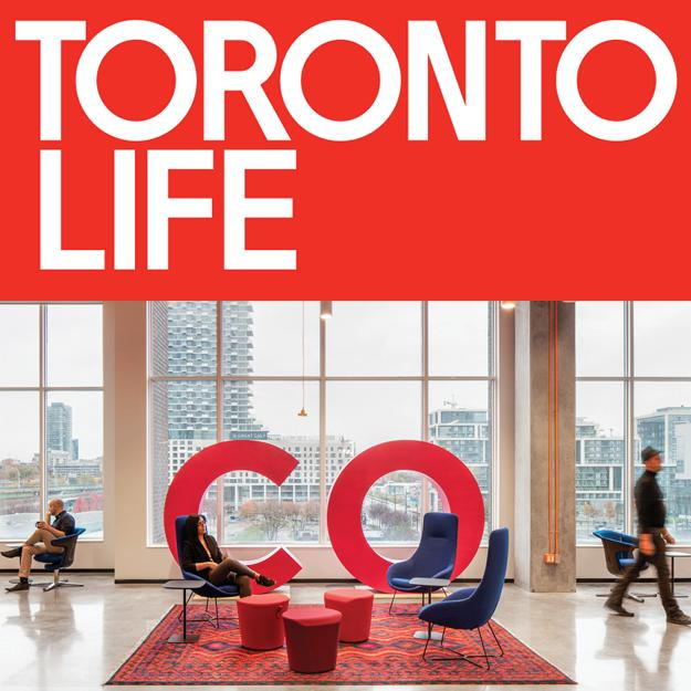 Toronto Life logo and the OCAD U CO common area with lounge seating and 6 foot tall pink C O letters
