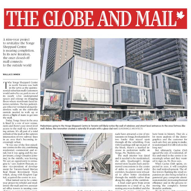 Globe and Mail newspaper article about the Yonge Sheppard Centre