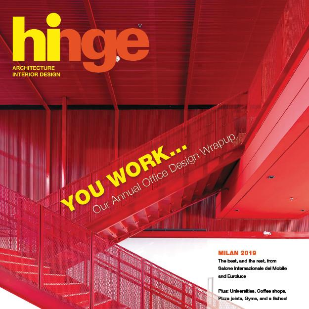 cover of Hinge magazine showing a red mesh framed staircase and matching red wall and ceiling