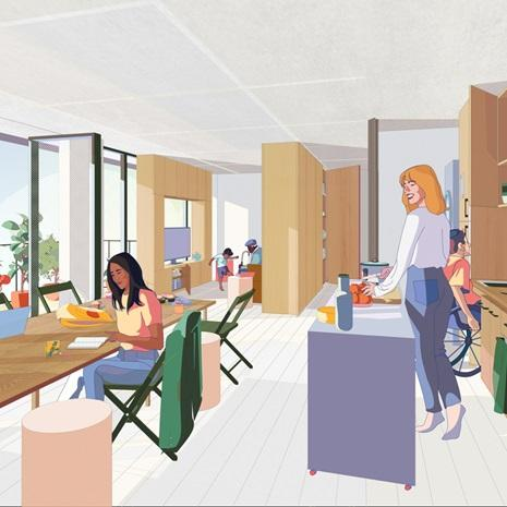 rendering of people of varying abilities in a condo with modular room divider elements