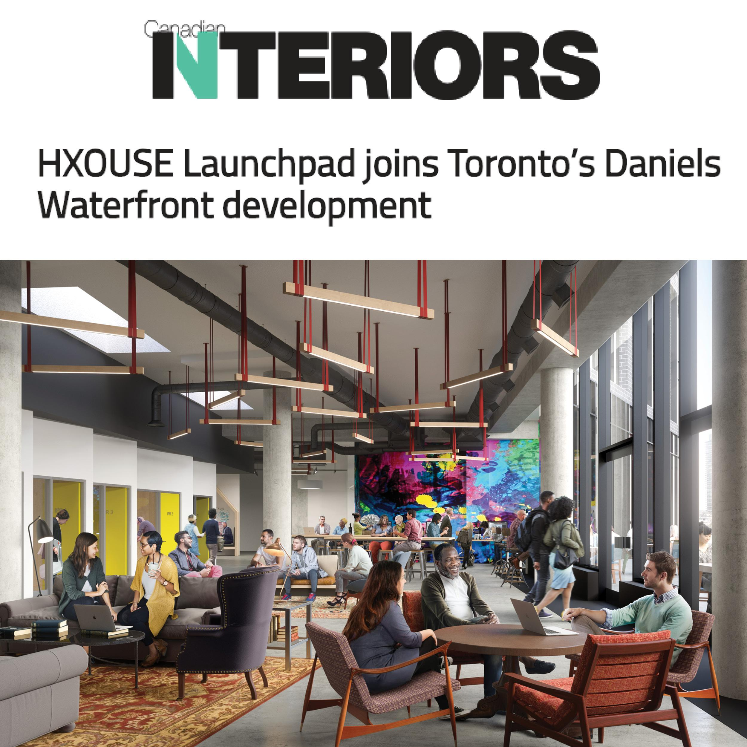 rendering of a common area inside Artscape Launchpad, Canadian Interiors logo