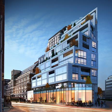 rendering of 1181 Queen Street West, showing its angled corner and large terraces