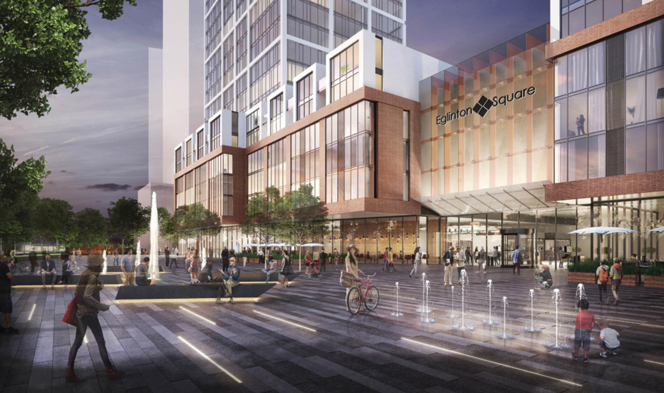 Rendering of proposed Eglinton Square mall with lots of seating in the foreground and a glass facade on the mall with condos in the floors above