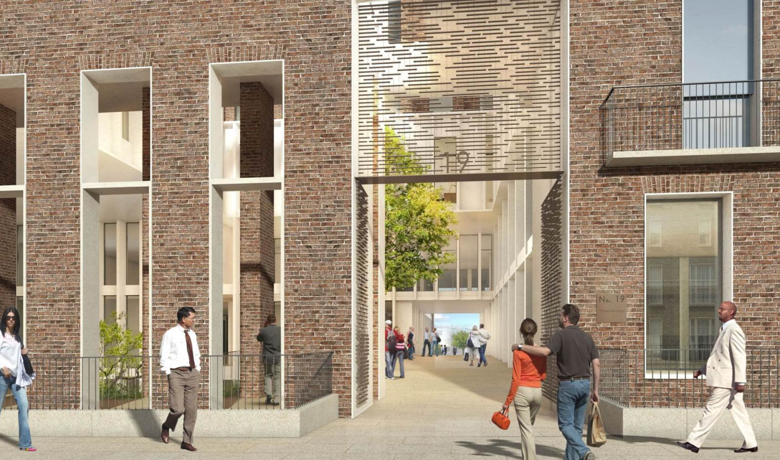rendering of a courtyard access in a red brick facade