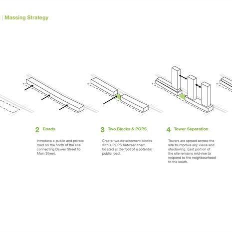 concept diagrams showing massing strategy
