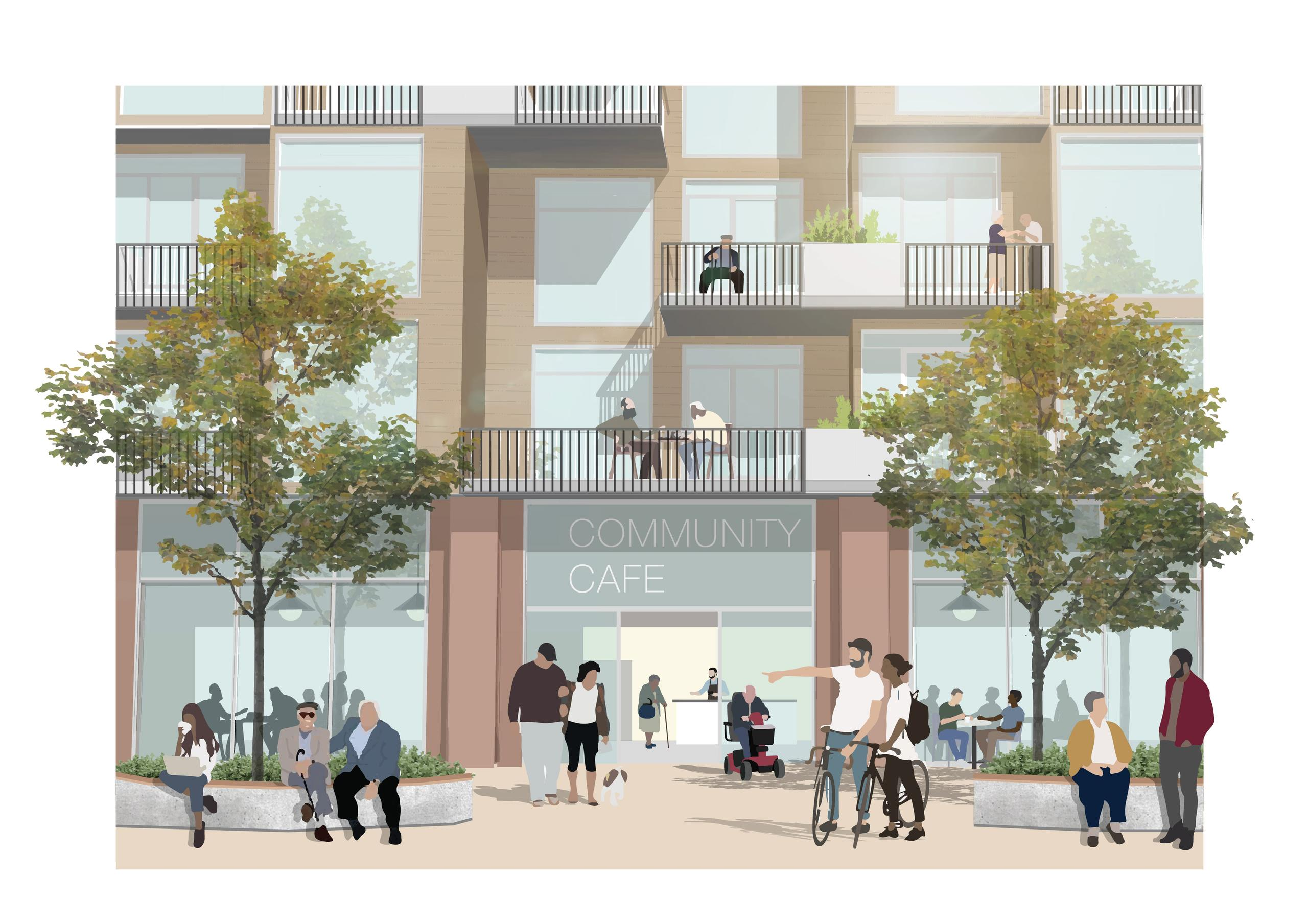 """rendering of an at-grade view of a building with planter seating and building entrance labeled """"community cafe"""" in a clearly residential building with lots of balconies and people of varying ages enjoying the public space"""