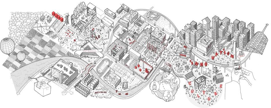 black and white sketch of a master planned university campus