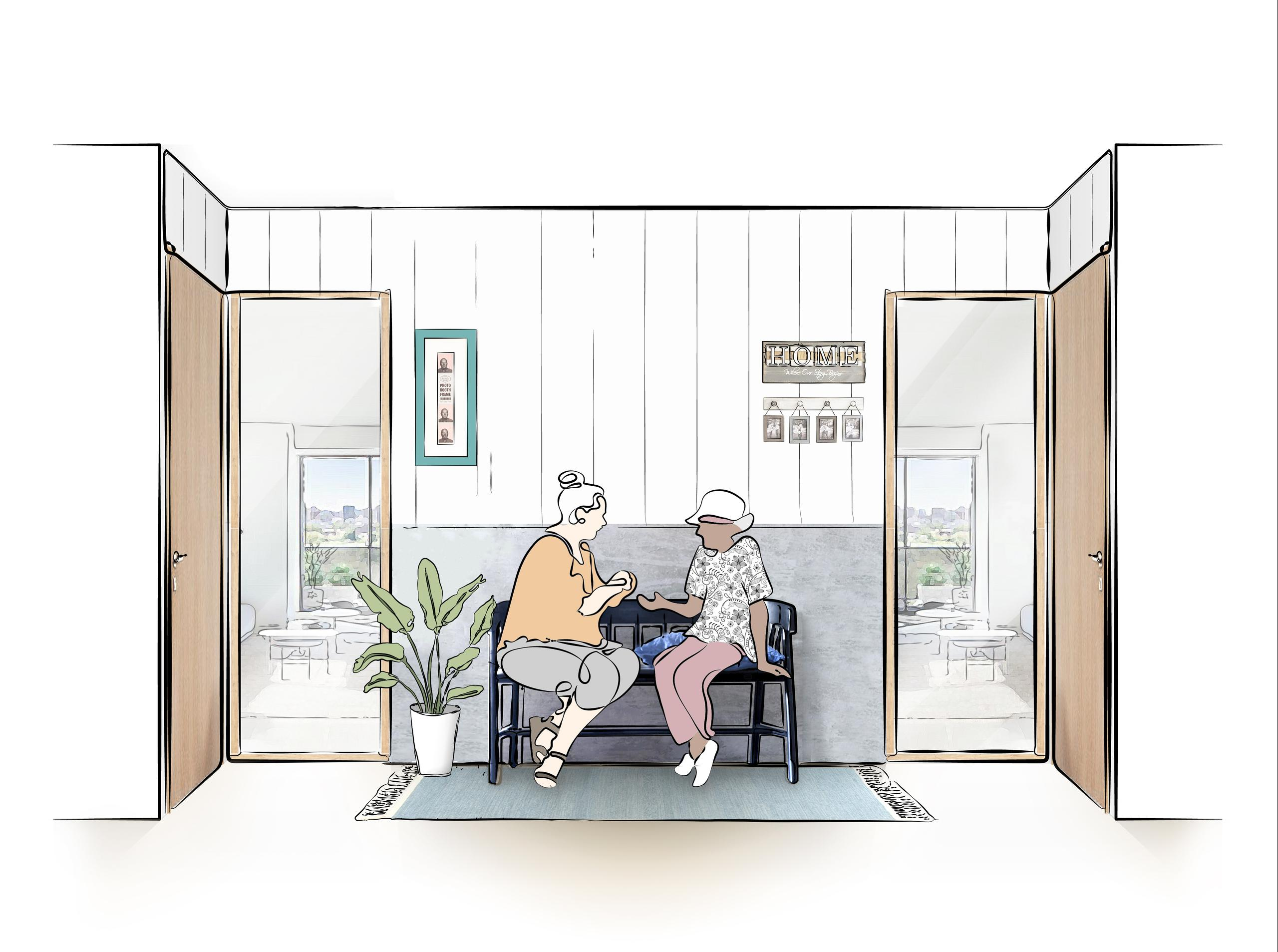 """rendering of a """"porch"""" style seating area with personalized decor in a condo hallway, with two older ladies conversing on the bench between their units"""