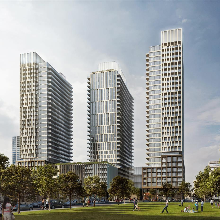 three towers overlooking a park