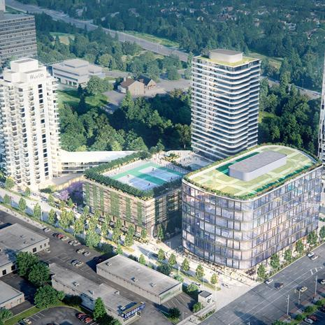 aerial rendering of the Westin Prince Hotel and proposed surrounding buildings