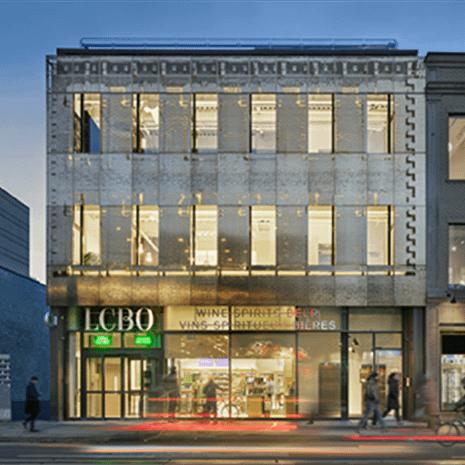 photo of the steel facade of 619 Queen Street West