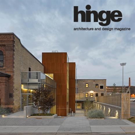 Hinge magazine logo over a photo of 60 Atlantic