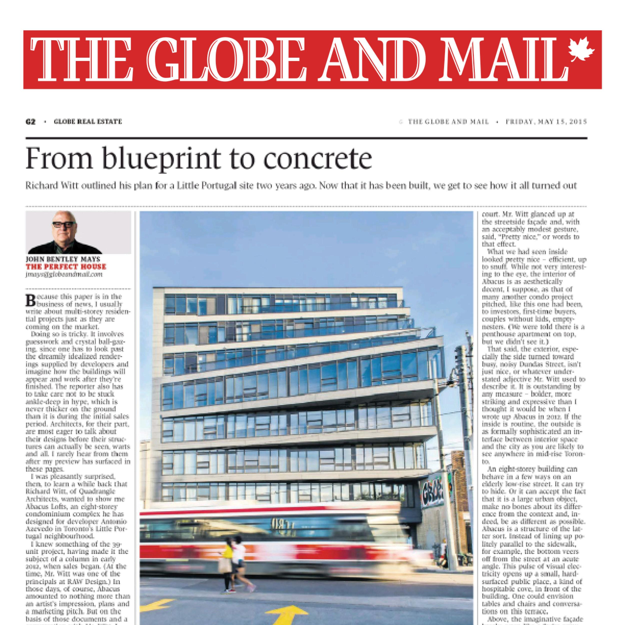 newspaper article from the Globe and Mail about Abacus Lofts