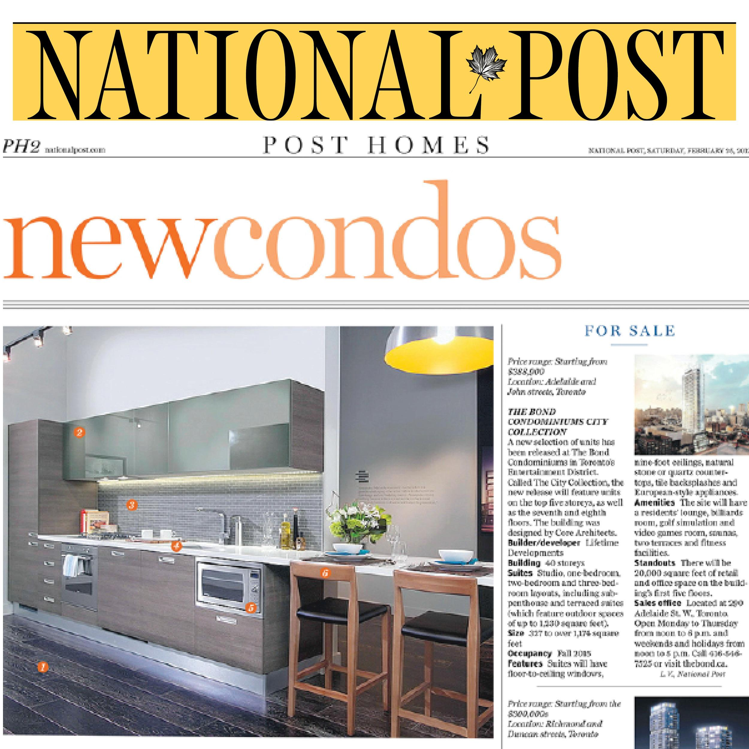 page from the National Post New Homes section about Abacus Lofts