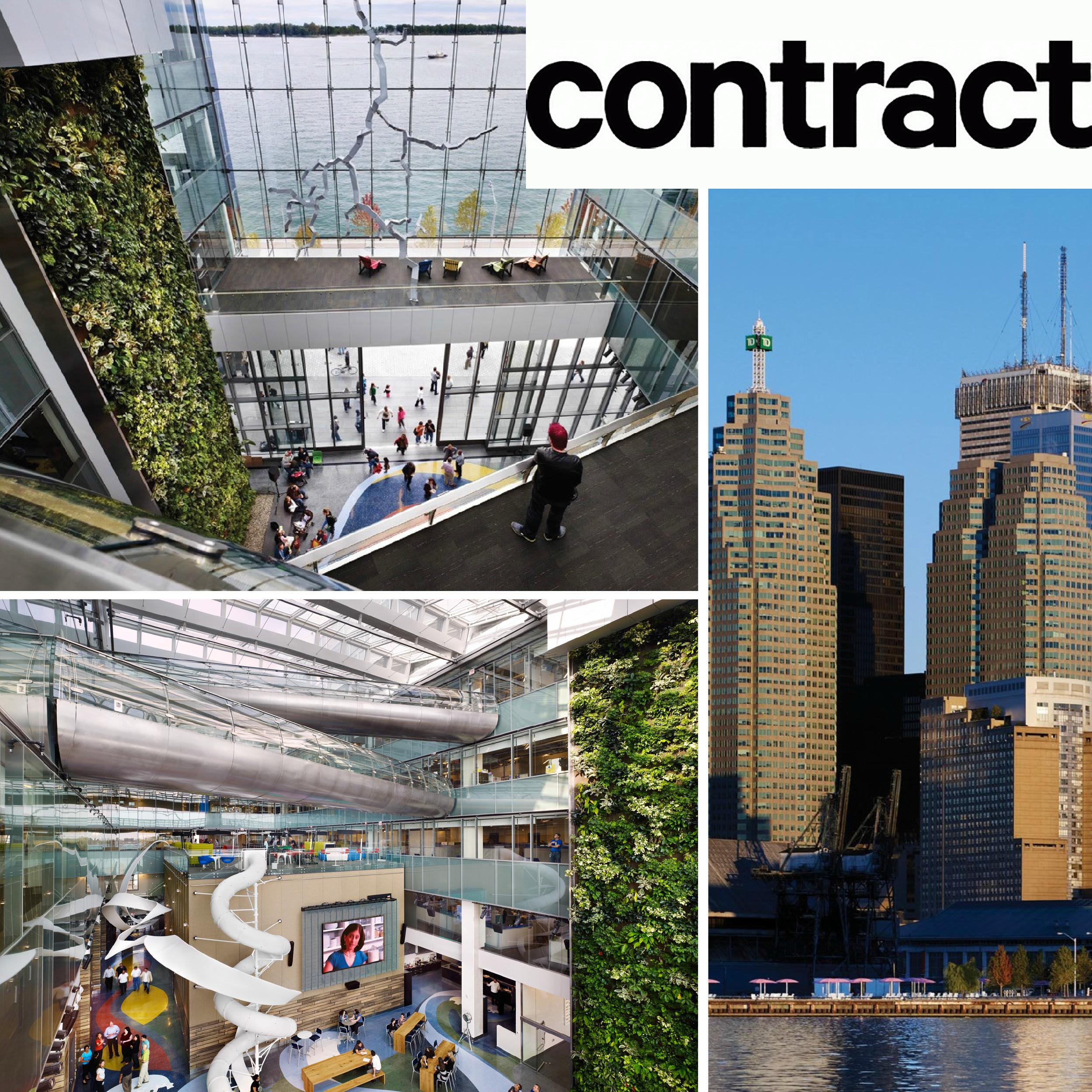 collage of photos of the Corsu Entertainment headquarters with the Contract magazine logo in the top right corner