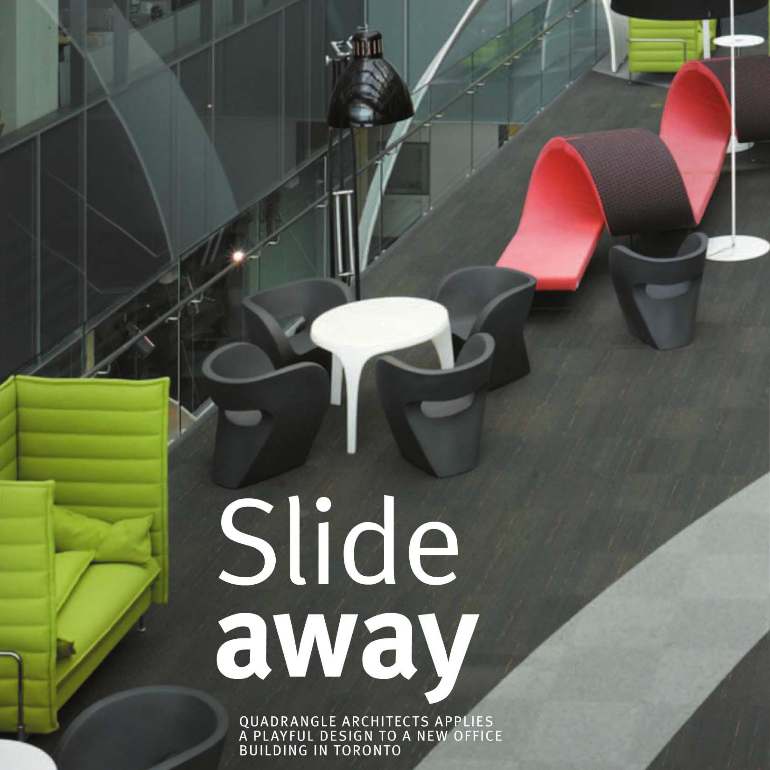 cover of Commercial Interior Design magazine featuring a photo of colourful lounge seating at Corus Entertainment