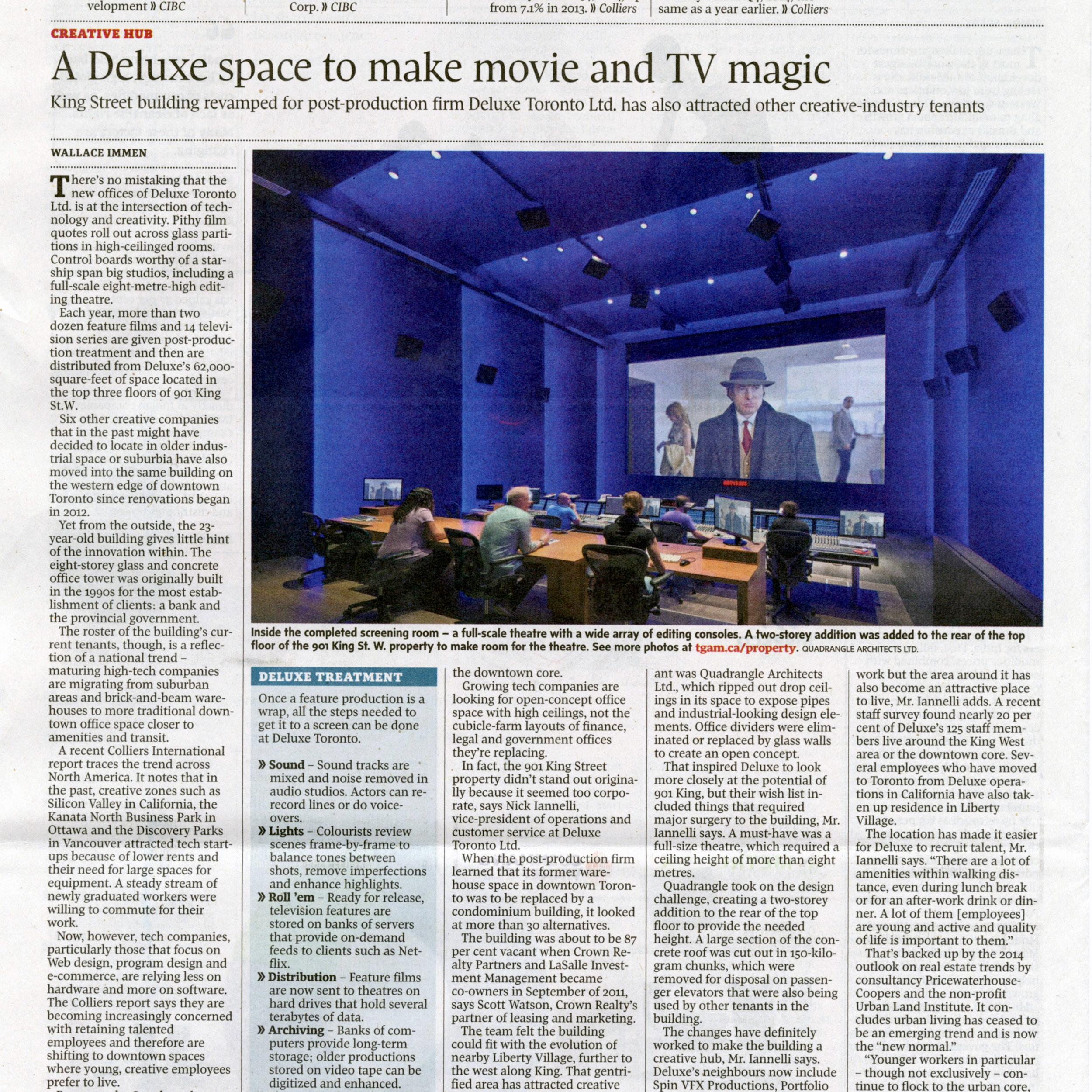 Globe and Mail newspaper article about Deluxe's new office