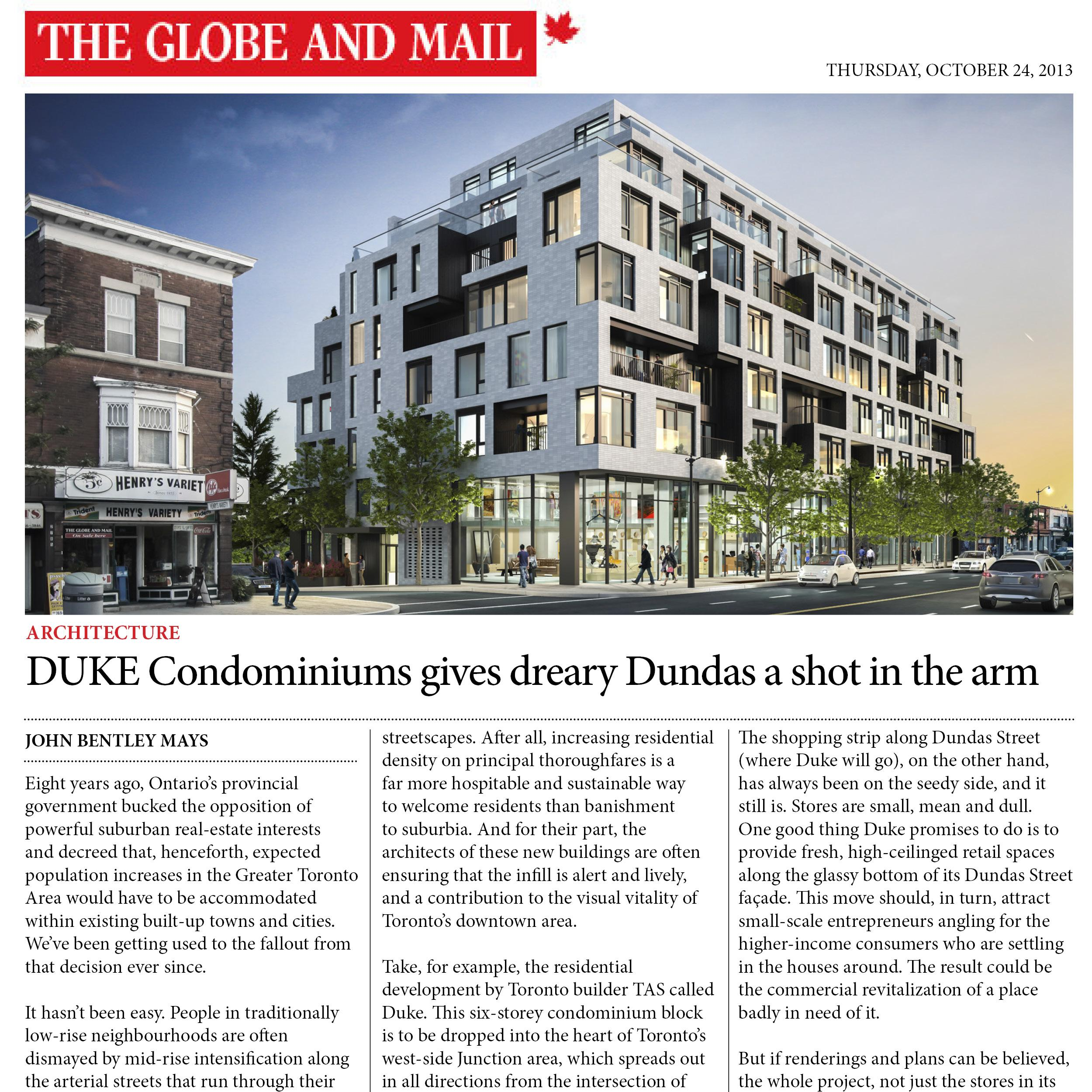Globe and Mail article about DUKE Condos