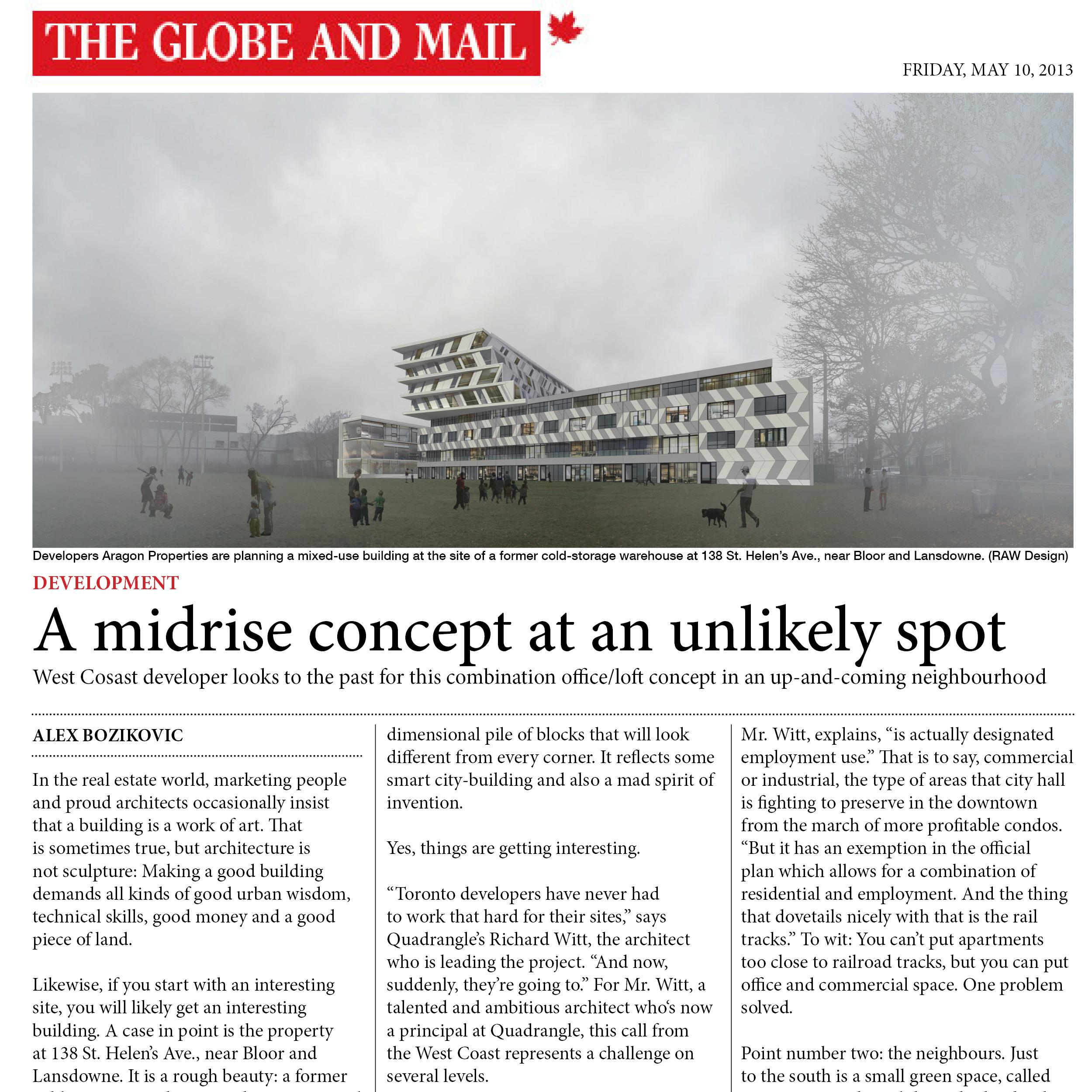 Globe and Mail article about Enigma on the Park
