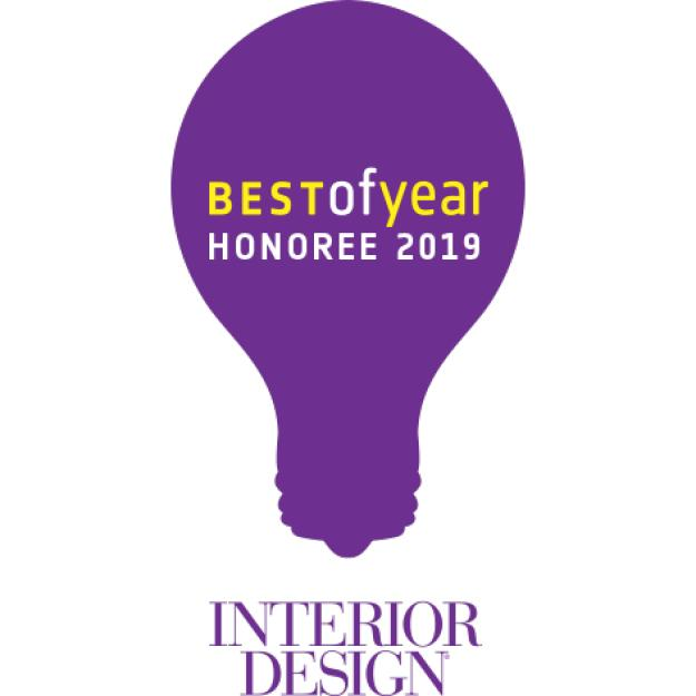 Best of Year Honouree 2019 in a purple lightbulb above the Interior Design magazine logo