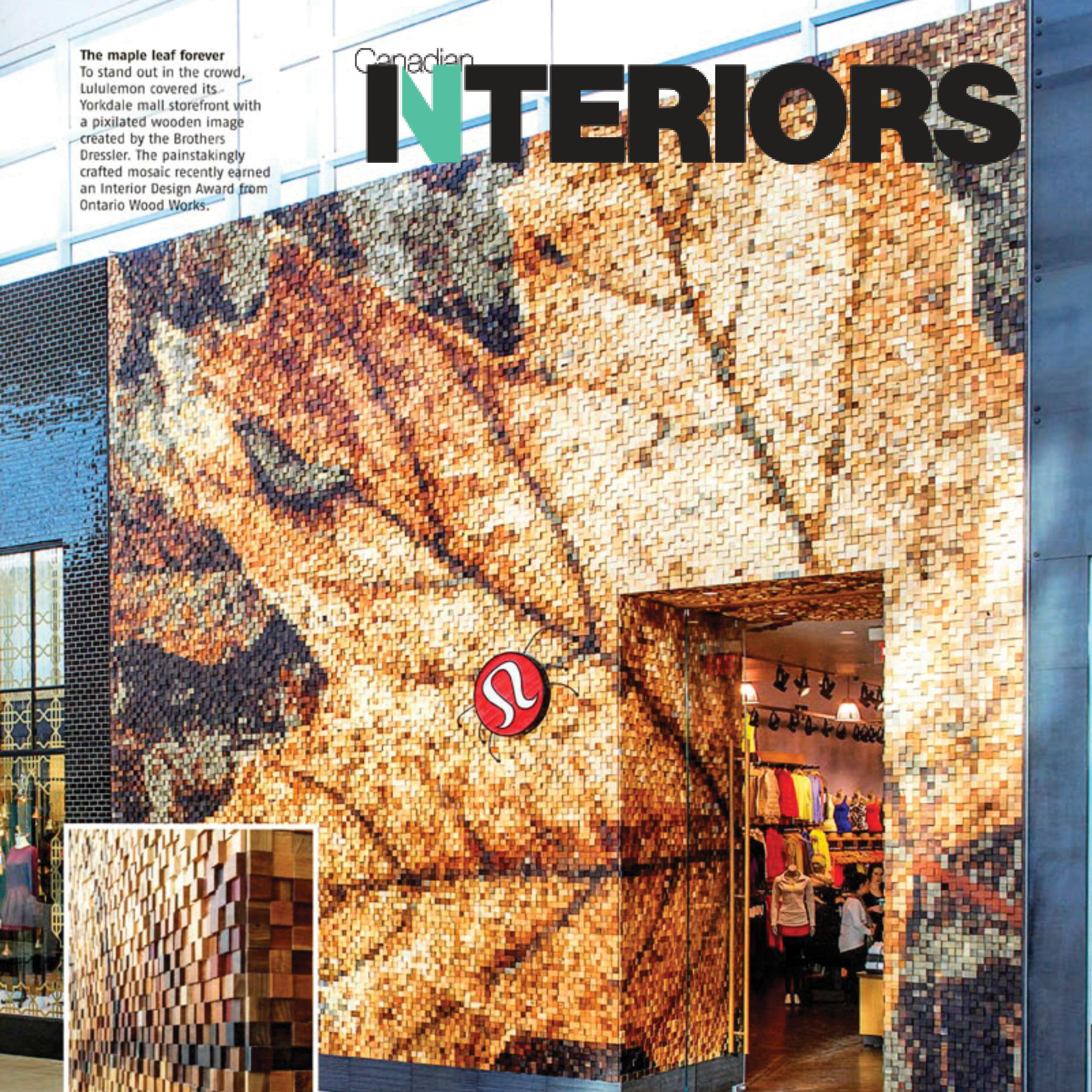 facade of the Lululemon Yorkdale location, showing a maple leaf made out of wooden squares