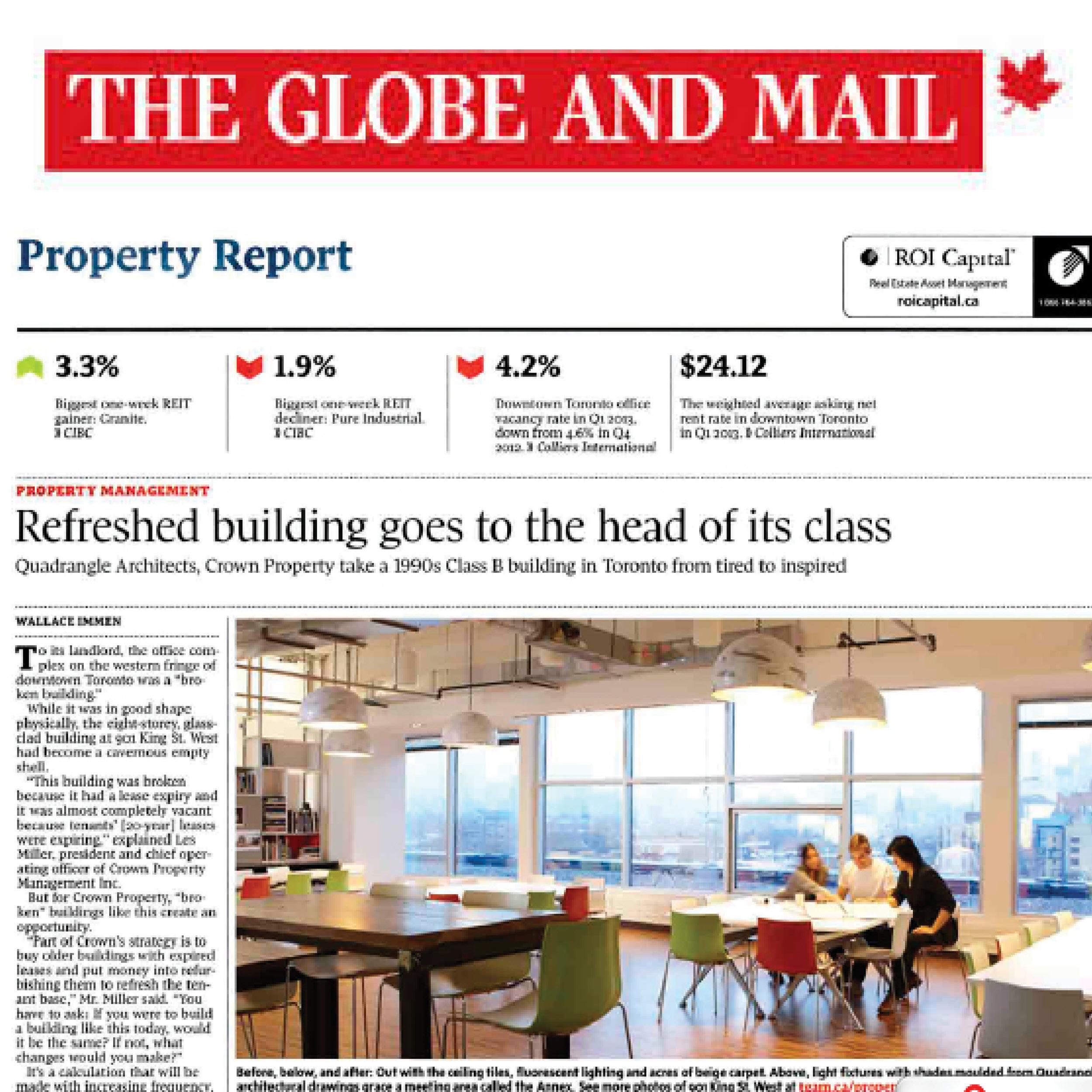 Globe and Mail article about the new Quadrangle Studio