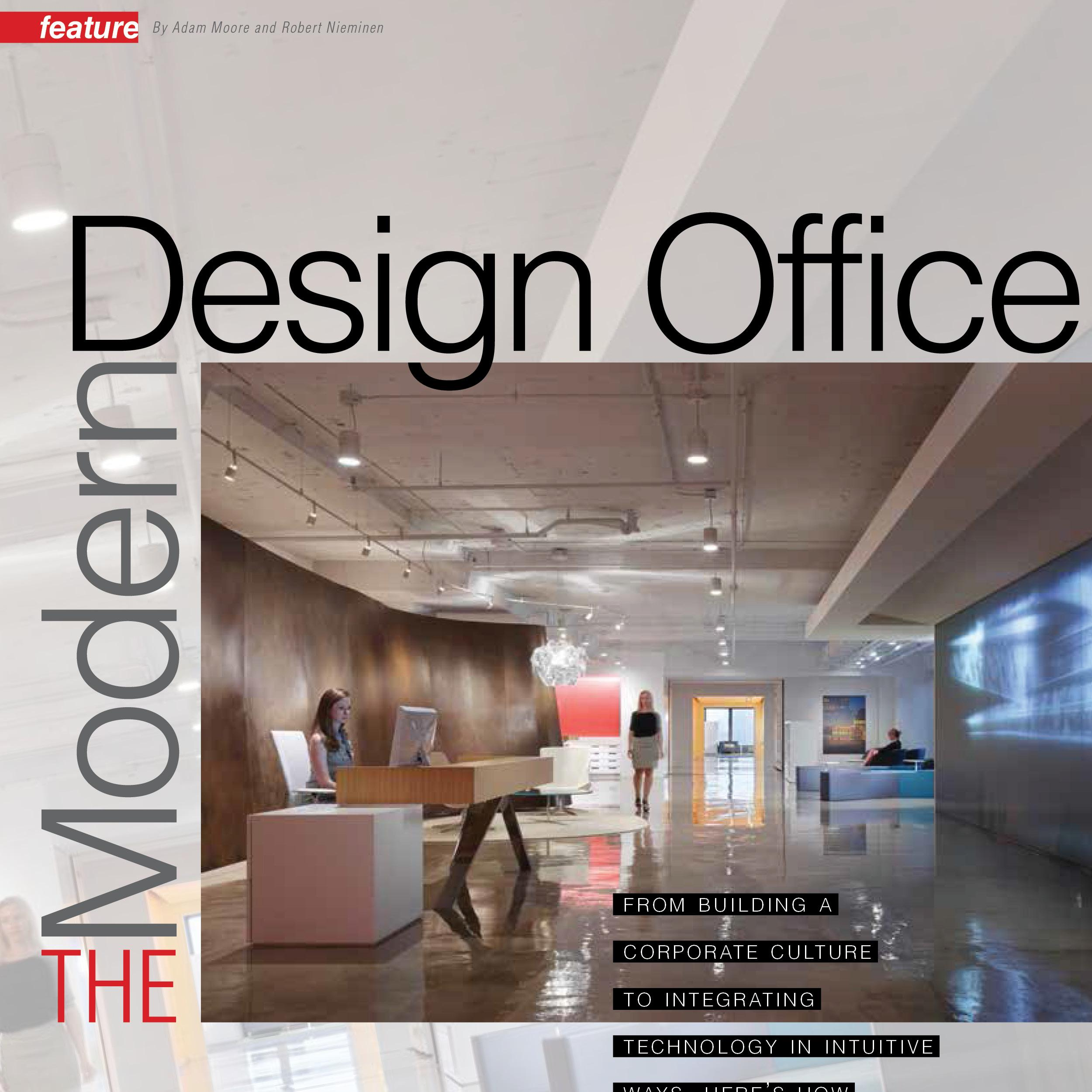 "cover of Interiors and Sources magazine with the words ""Modern Design Office"""