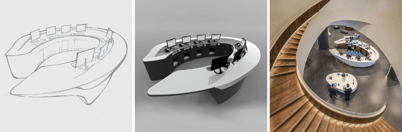 three images of the curved POS service desk: a sketch, a rendering, and a photo taken from the second floor and framed by the curving staircase