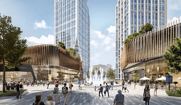 rendering of people enjoying a public plaza or square with a fountain in the middle, buildings with glazed retail and baguette design features on the upper floor and high rise buildings in the background