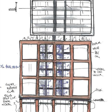 hand drawn sketch of 170 Spadina Avenue