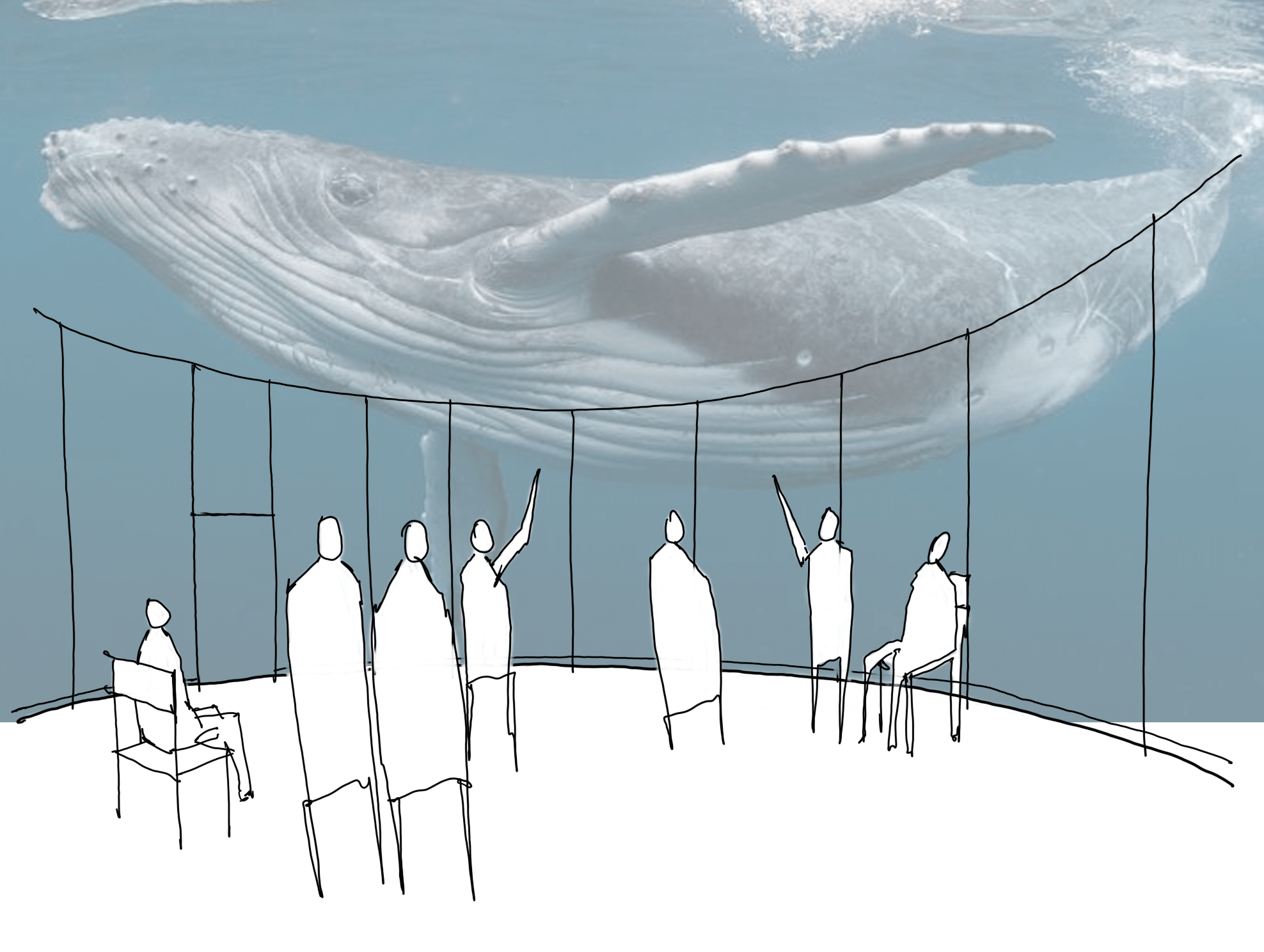 sketch of people in a room with a humpback whale in the ocean projected on the walls and ceiling