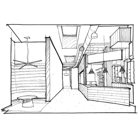 Sketch of entrance to at Artscape Launchpad