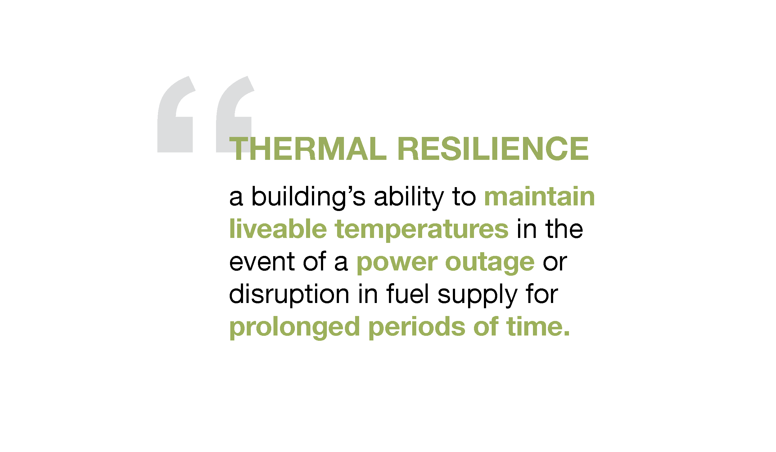 Thermal Resilience refers to a building's ability to maintain livable temperatures in the event of a power outage or disruption of fuel supply for prolonged periods of time.