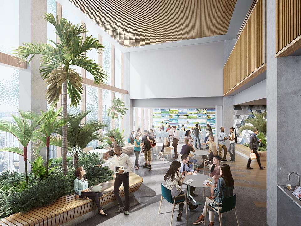 rendering of people in a range of seating in a bright sunlit lobby with double height ceilings and lots of planters with built in benching