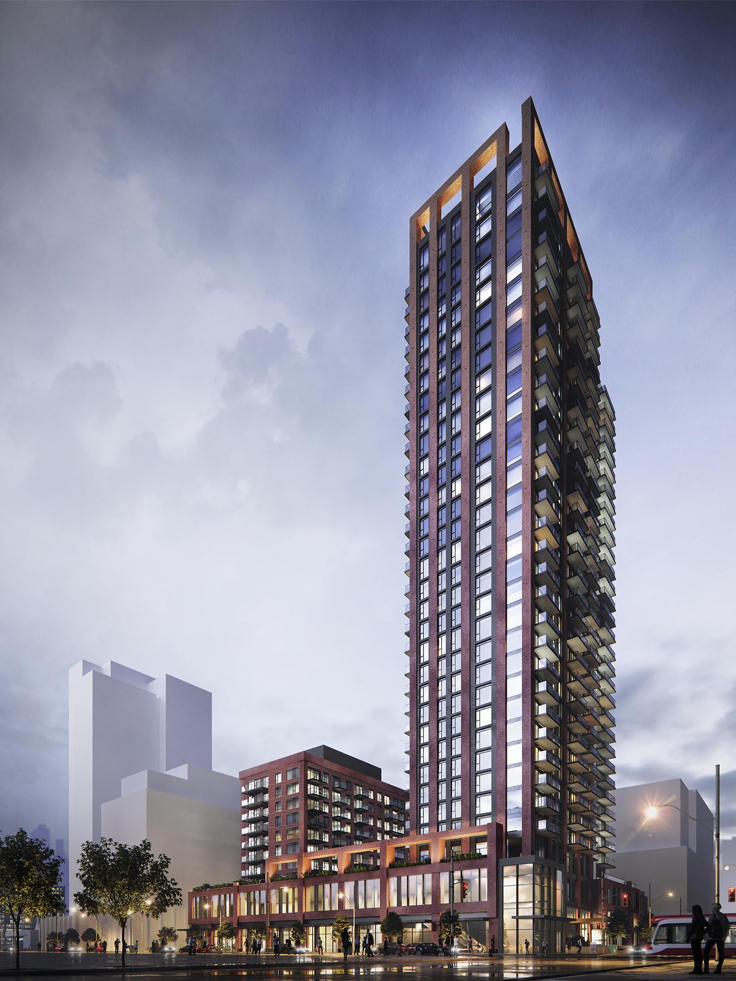 rendering of a condominium with two towers atop a common podium, one short one tall, clad in red brick with protruding balconies