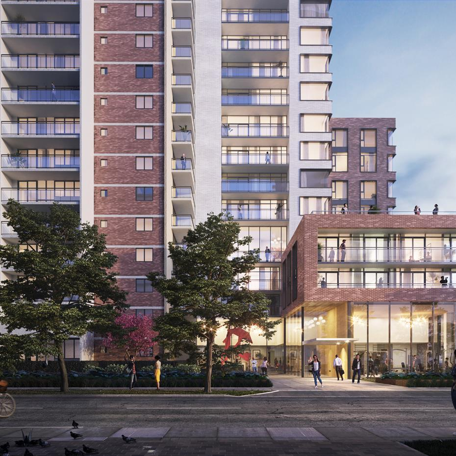 rendering of a red brick and white clad condominium building with a glazed entryway
