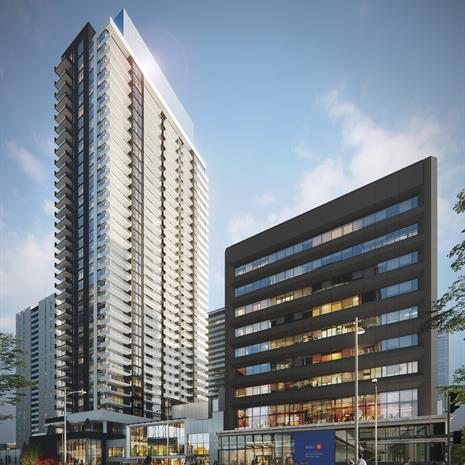 Rendering of two buildings: a black commercial midrise with a BMO bank at the base, and a residential tower