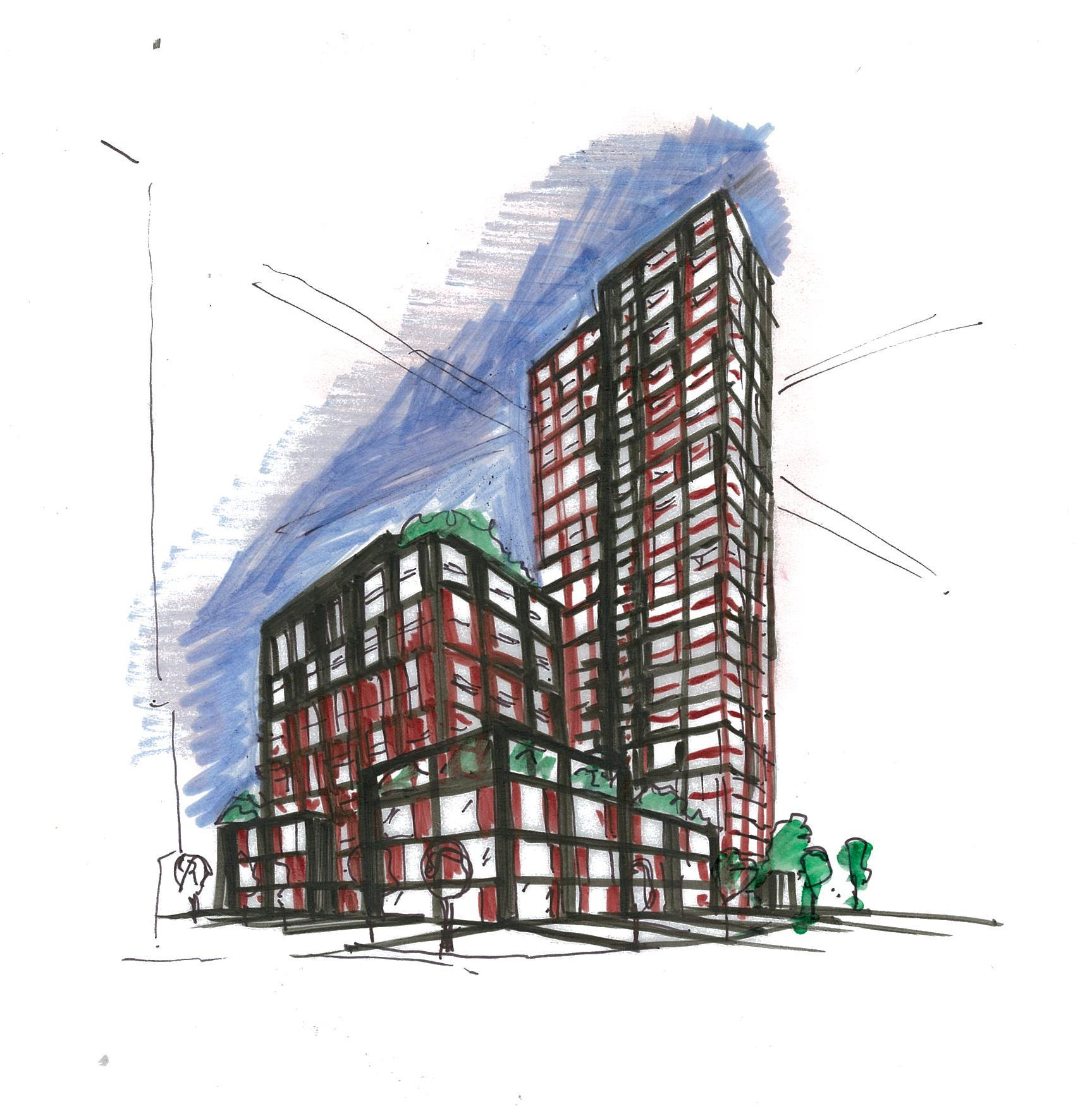 coloured hand-drawn sketch of Artworks Tower condominium