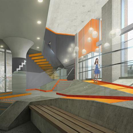 Colour rendering of 100 Broadview Avenue lobby