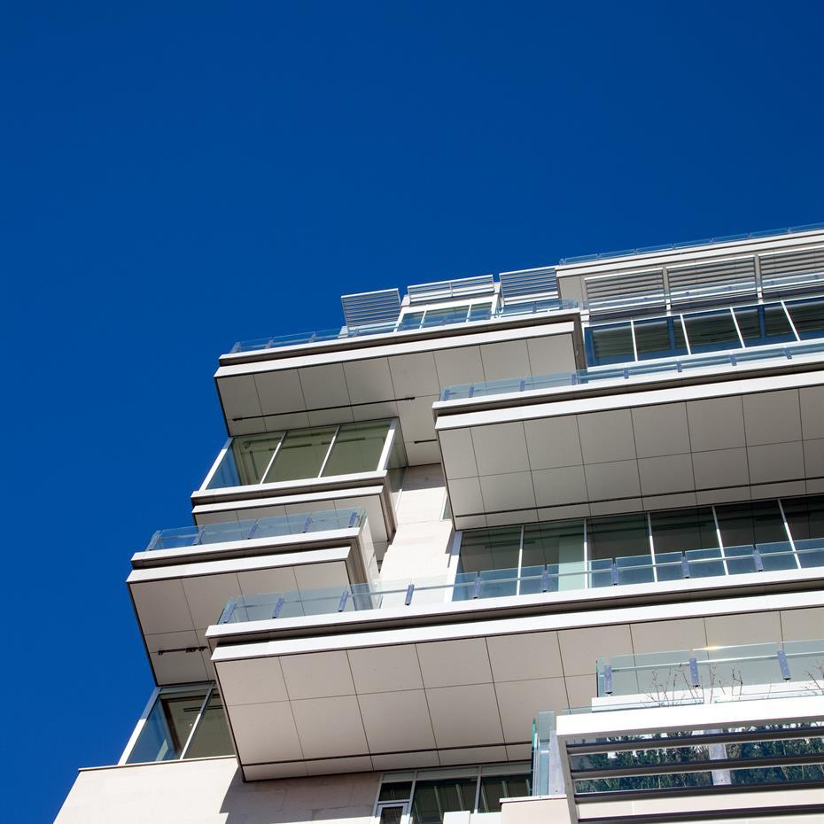 Worm's-eye view of the balconies for the luxury residential suites.