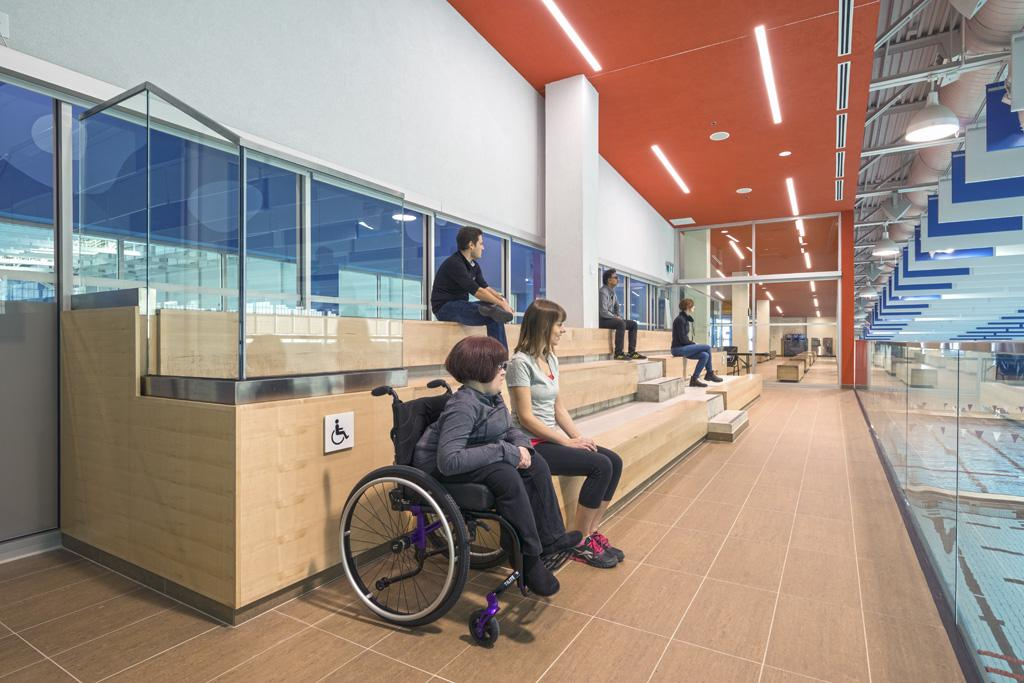 Accessible seating integrated into viewing gallery