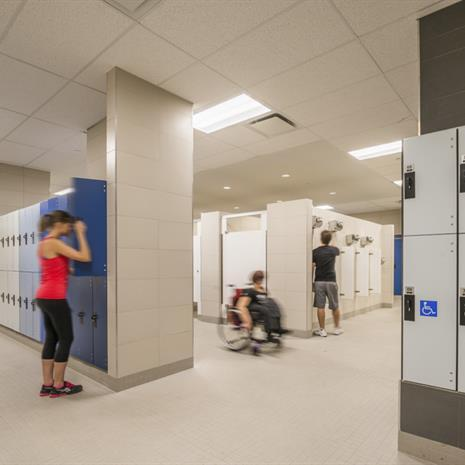 Locker room with accessible lockers