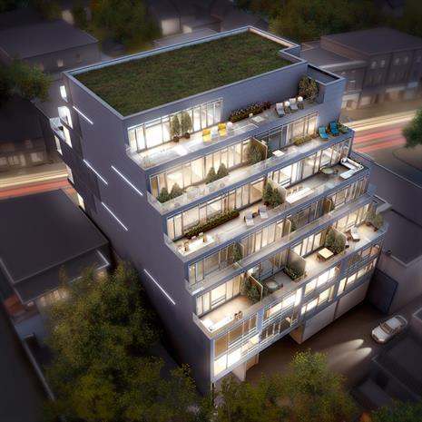 Aerial view of Abacus Lofts.